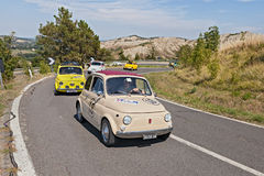 Line of vintage Fiat 500 Royalty Free Stock Photo