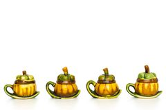 Line of vintage mangosteen teapot Stock Photography