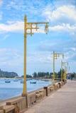 Line of vintage streetlights at seaside Royalty Free Stock Images