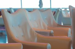 Line of Vinyl Chairs on Cruise Ship Royalty Free Stock Photography