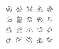 Line Warnings Icons. Simple Set of Warnings Related Vector Line Icons. Contains such Icons as Toxic, Explosive, Flammable and more. Editable Stroke. 48x48 Pixel Stock Photography