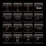 Line weapon, arms and war icons Royalty Free Stock Images