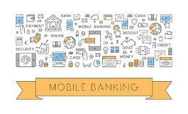 Modern line concept for mobile banking. Line web banner for mobile banking. Modern linear concept for mobile payments Stock Photo