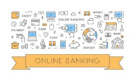 Line web banner for online banking. Modern linear concept for internet banking Stock Photos