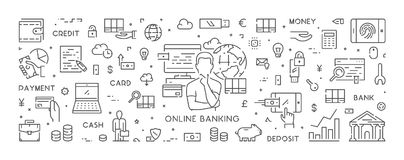 Line web banner for online banking. Modern linear concept for internet payments Royalty Free Stock Photo