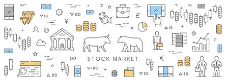 Line web banner for stock market. Horizontal concept of commodity exchange Stock Image