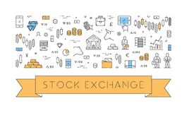 Line web banner for stock market. Modern linear concept for commodity exchange Royalty Free Stock Image