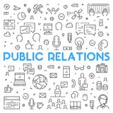 Line web concept for public relations. Modern linear banner for advertising Stock Photography