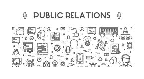 Line web concept for public relations Stock Photos
