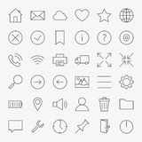 Line Web and User Interface Design Icons Big Set. Vector Set of 36 Universal Application Modern Thin Line Icons for Website and Mobile Royalty Free Stock Photo