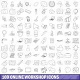 100 on-line-Werkstattikonen eingestellt, Entwurfsart Stockbild