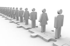 Line of white human forms standing over meshed jigsaw pieces. On white background Stock Photos