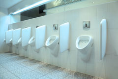 Line of white porcelain urinals in toilet Royalty Free Stock Photo