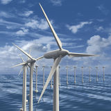 Line of wind generators at sea Royalty Free Stock Images