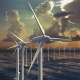 Line of wind generators or a wind farm Royalty Free Stock Image