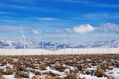 Line of Wind Turbines Royalty Free Stock Photos