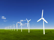 Line of windmills Royalty Free Stock Images