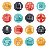Line window icons. Set. Frame for home, construction and interior decoration, architectural building. Vector illustration Royalty Free Stock Image