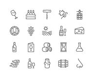 Line Wine Icons Stock Photography