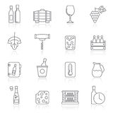 Line Wine industry objects icons Stock Photography