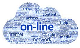 On-line-Wolke (Beschneidungspfad eingeschlossen) Stockfotos