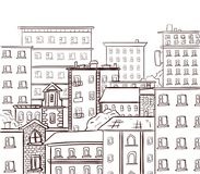 Line work, doodle city. Black lines on white background. VECTOR hand drawn sketch Royalty Free Stock Image