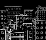 Line work, doodle city. White lines on black chalkboard. VECTOR hand drawn sketch Stock Photo