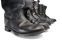 A line of working footwear Stock Photo