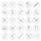 Line working  tools for construction, building and home repair 25 icons set. Vector illustration. Equipment and elements. Line working  tools for construction Stock Images