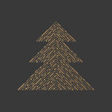 Line xmas tree. Element for Christmas stock illustration