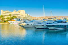 The line of yachts in marina Stock Photos