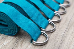 Line of yoga straps. Group of yoga straps in a row Royalty Free Stock Photo