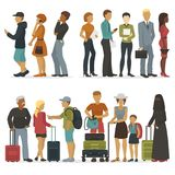 Line of young people characters while waiting for their turn for interview or trip vector illustration. Success teamwork worker person meeting partnet Stock Images