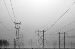 Linea ad alta tensione torre Fotografie Stock Libere da Diritti