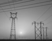Linea ad alta tensione torre Fotografie Stock