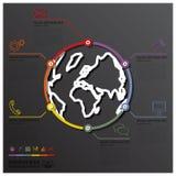 Linea affare Infographic del mondo e della terra di forma del cerchio Immagini Stock