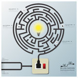 Linea affare Infographic di Maze Light Bulb Electric Wire Fotografia Stock