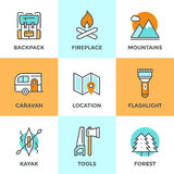 Linea all'aperto icone di avventura messe Fotografia Stock