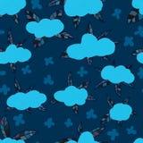 Linea alla moda modello senza cuciture della nuvola Immagine Stock