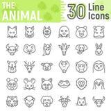 Linea animale insieme dell'icona, raccolta di simboli della bestia illustrazione di stock