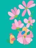 Linea Art Bird del fiore del disegno Fotografia Stock
