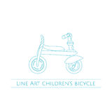 Linea Art Childrens Bicycle One Illustrazione Vettoriale