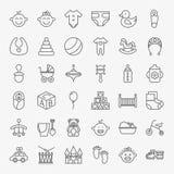 Linea Art Design Icons Big Set del bambino Fotografia Stock Libera da Diritti