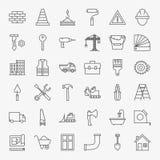 Linea Art Design Icons Big Set della costruzione di edifici Fotografia Stock Libera da Diritti