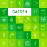 Linea Art Garden di vettore ed icone dei fiori messe Fotografie Stock Libere da Diritti