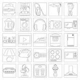 Linea Art Icon Set dell'elettrodomestico Immagini Stock