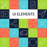 Linea Art Modern Universal Web di vettore ed icone mobili messe Fotografia Stock