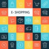Linea Art Online Shopping Icons Set di vettore Fotografie Stock