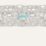 Linea Art Seamless Web Banner degli aggeggi di tecnologia Immagine Stock