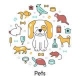 Linea Art Thin Icons Set degli animali domestici con il gatto del cane Immagini Stock